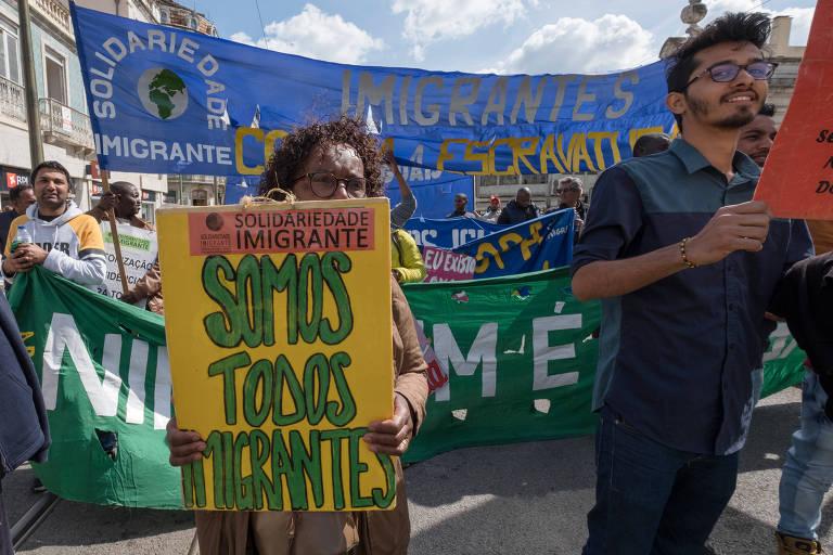 Protesto pelos direitos dos imigrantes em maio em Lisboa, em Portugal