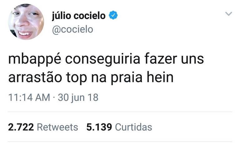 Júlio Cocielo faz comentário sobre Mbappé e apaga logo em seguida