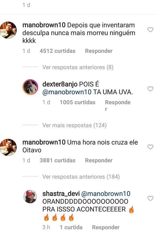 Reprodução das mensagens de Mano Brown sobre Julio Cocielo