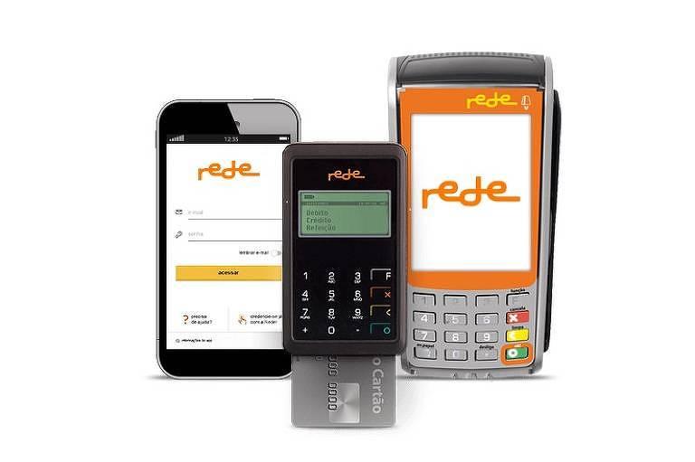 imagem mostra aplicativo de celular, máquina pequena e máquina tradicional