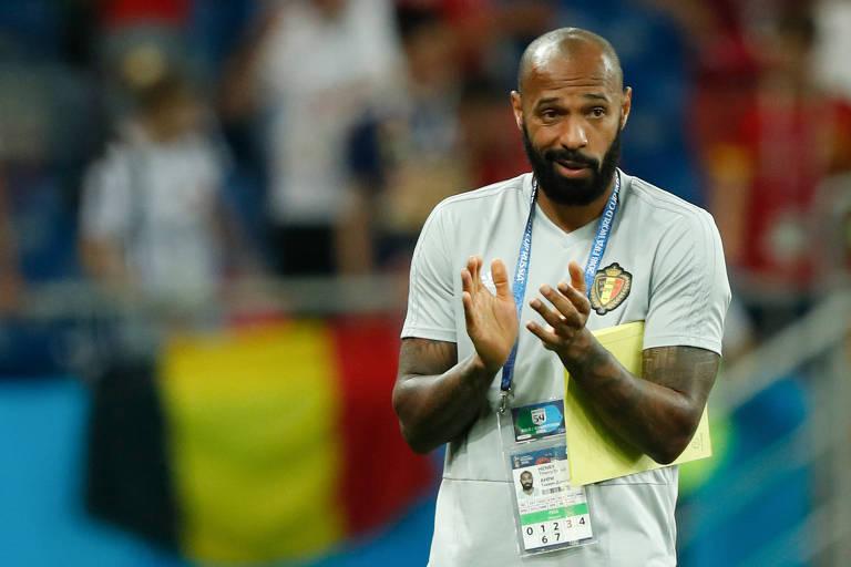 Thierry Henry, auxiliar técnico da Bélgica, após partida contra o Japão