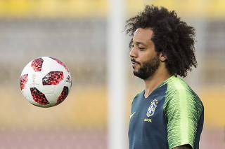 Copa Russia 2018. Lareral Marcelo, que volta a ser titular na Selecao Brasileira contra a Belgica, durante treino no estadio Tsentralny, em Kazan