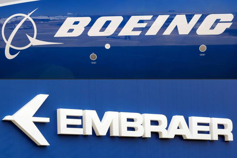 Logos da Boeing e da Embraer, em montagem fotográfica
