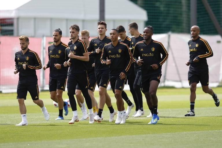 Seleção belga faz o último treino antes da disputa contra o Brasil pelas quartas de final