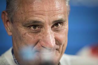Copa Russia 2018.Tencnico Tite durante coletiva no estadio Arena Kazan fala sobre o jogo do Brasil contra a Belgica