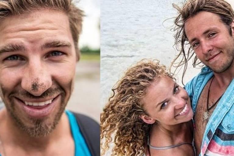 Ryker Gamble (à esq), Megan Scraper e Alexey Lyakh (à dir) visitavam locais exóticos e postavam vídeos em canal de viagens