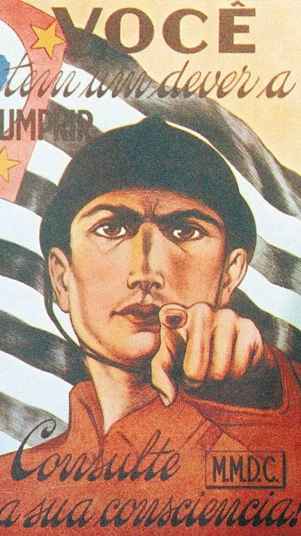 Cartaz do MMDC que convocava os paulistas a combater o governo de Getúlio Vargas em 1932.
