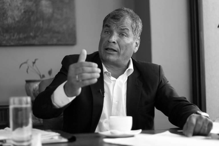 O ex-presidente do Equador Rafael Correa durante entrevista concedida em Quito