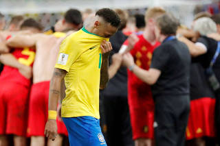 FILE PHOTO: Brazil's Neymar after World Cup loss to Belgium at Kazan Arena, Kazan, Russia - July 6, 2018