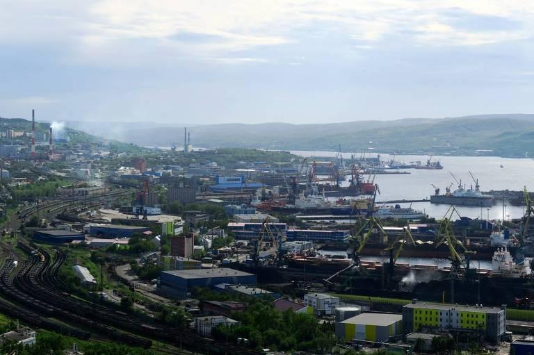 Vista de Murmansk, uma das cidades sob ameaça pelo derretimento do permafrost