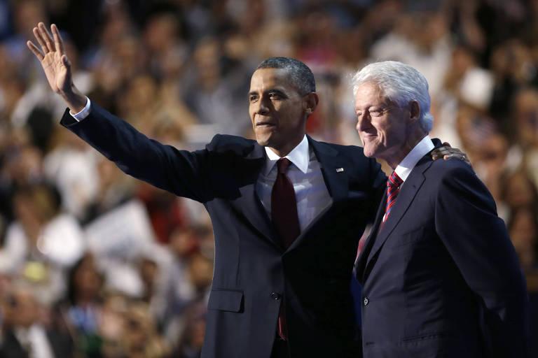 Os dois últimos presidentes democratas dos EUA, Barack Obama e Bill Clinton, durante a convenção do partido em 2012