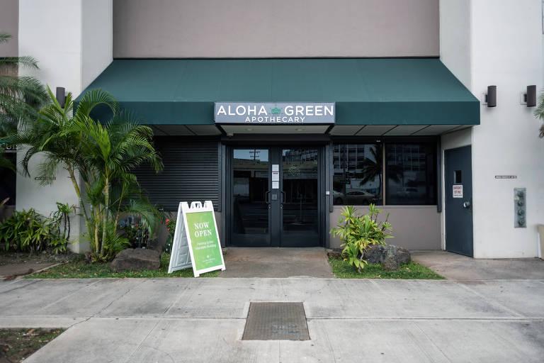 A fachada da loja Aloha Green, que vende produtos de maconha