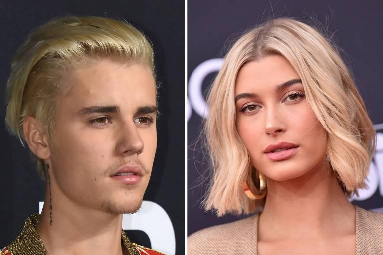 O cantor canadense Justin Bieber e a modelo Hailey Baldwin