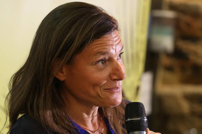 A diretora da Fundação Carrefour, Sophie Fourchy, anuncia investimento na Gastromotiva em 9 de julho de 2018
