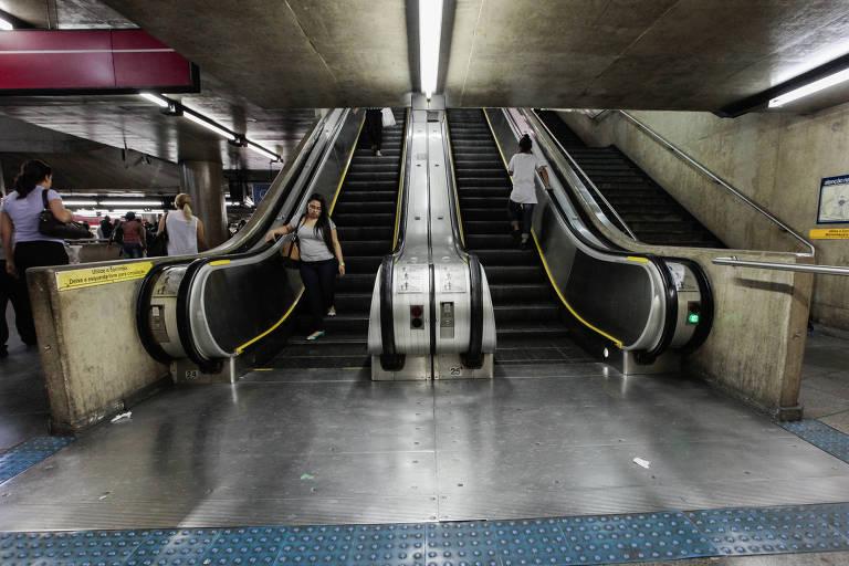Parte da estação da Sé, que une as linhas 1-azul e 3-vermelha do Metrô