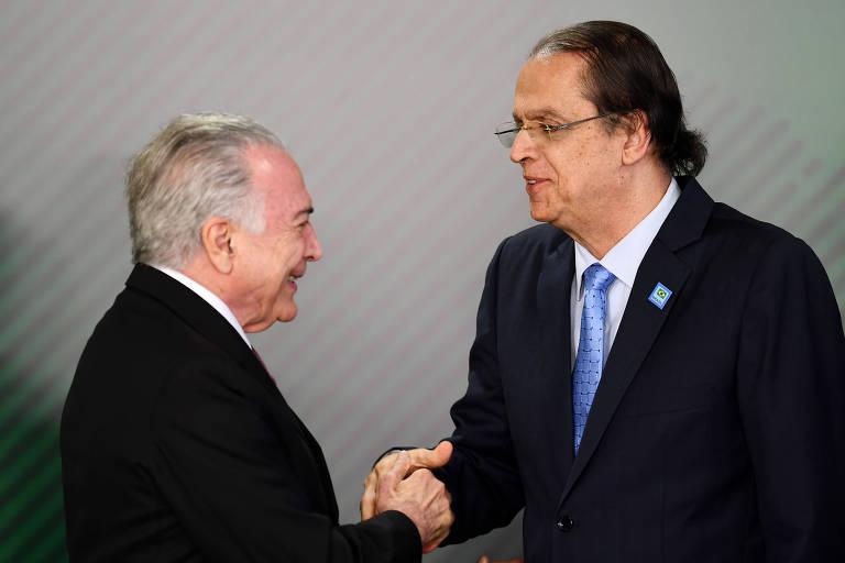Presidente Michel Temer e o ministro do trabalho, Caio Vieira de Mello
