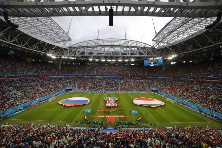 Vista do estádio de São Petersburgo, que recebeu a partida entre Rússia e Egito na fase de grupos