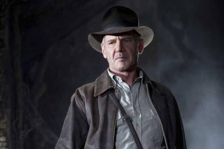 """Harrison Ford em cena de """"Indiana Jones e o Reino da Caveira de Cristal"""", de 2008"""