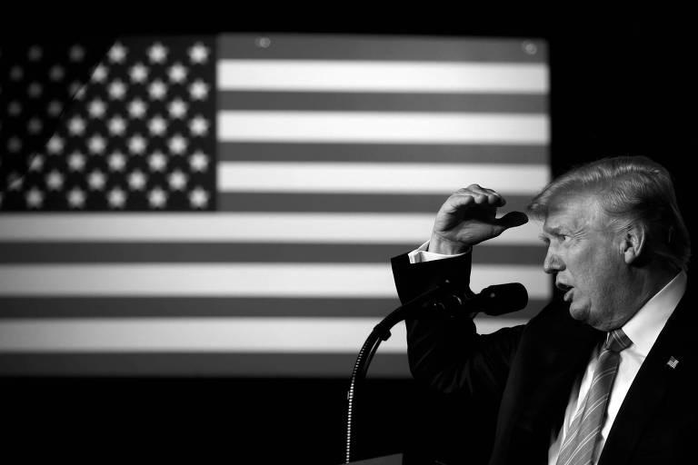 O presidente dos EUA, Donald Trump, durante evento na Virgína Ocidental, nos EUA