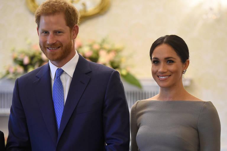 Príncipe Harry e a mulher, Meghan, durante visita a Dublin