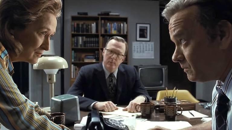 "Meryl Streep, Tracy Letts e Tom Hanks no filme ""The Post"""