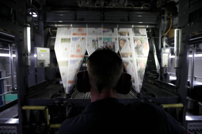 Impressão de jornal em gráfica