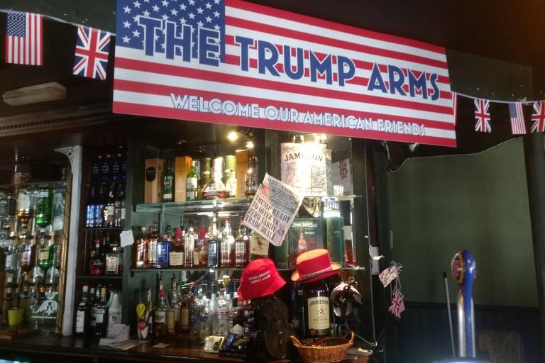 Bar Jameson, em Hammersmith, Londres, mudou temporariamente seu nome para The Trump Arms