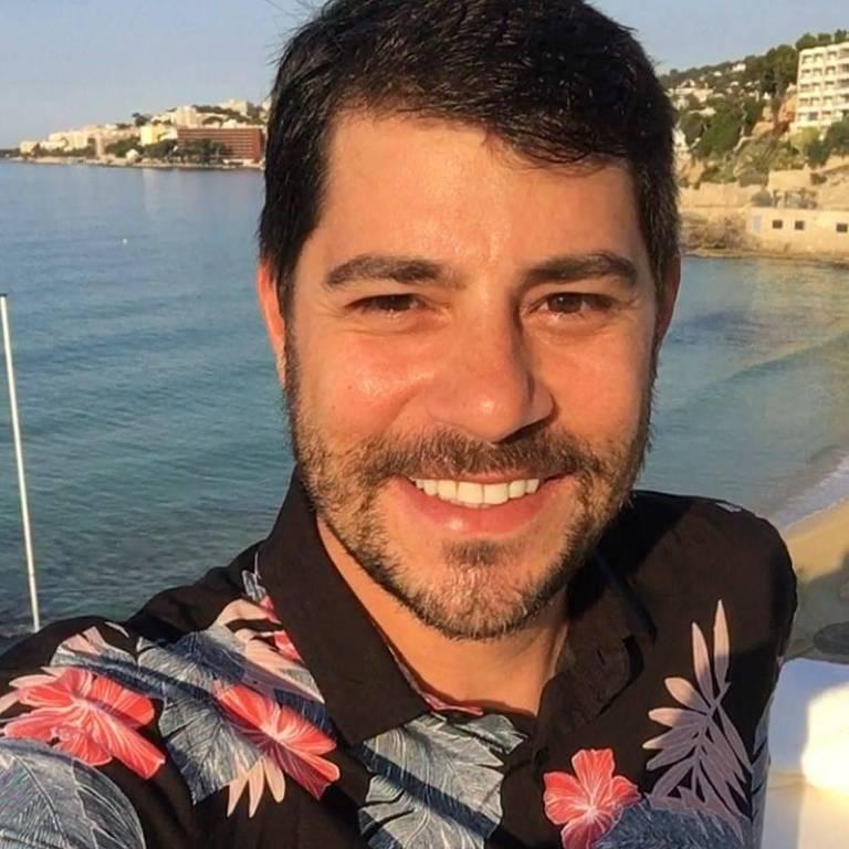 O jornalista Evaristo Costa em Palma de Maiorca