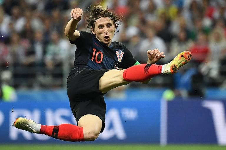 Luka Modric durante partida contra Inglaterra pelas semifinais no estádio Lujniki, em Moscou
