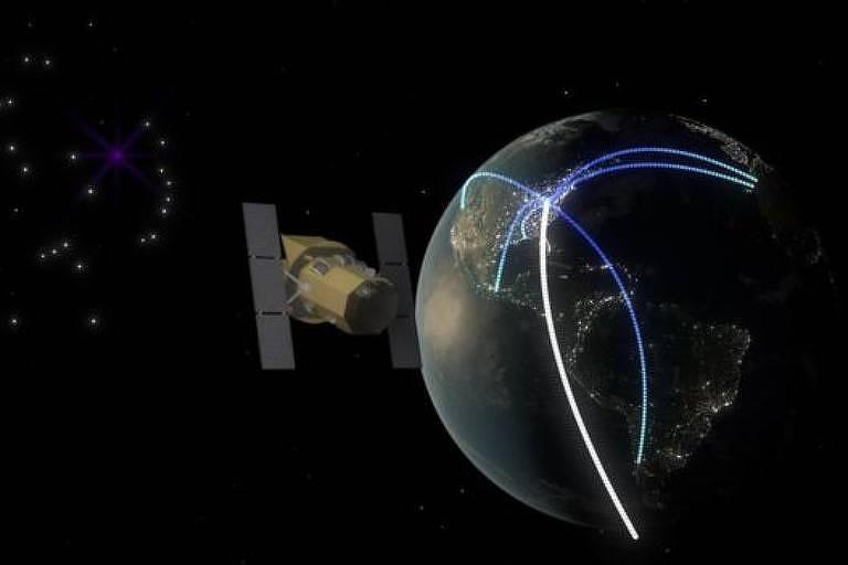 Ilustração de satélite ao redor da Terra
