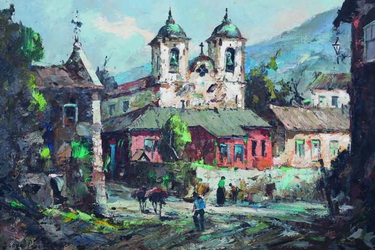 Foto de tela pintada por Durval Pereira mostra um vilarejo com uma igreja ao fundo