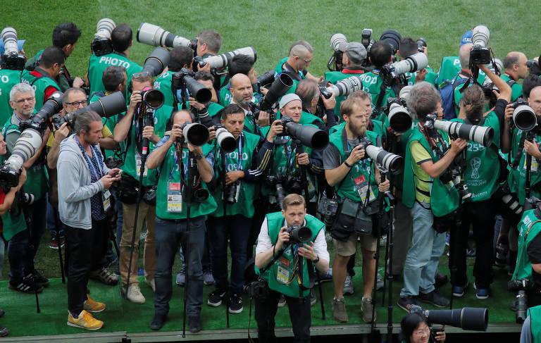 Jornalistas e fotógrafos da Copa da Rússia