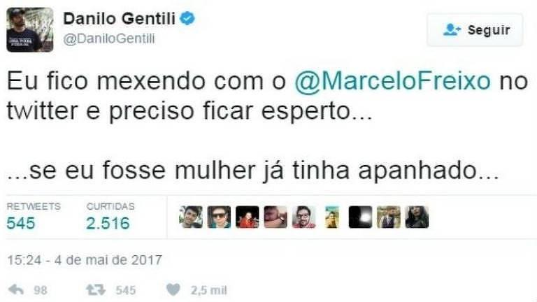 Tuíte de Gentili questionado por Freixo