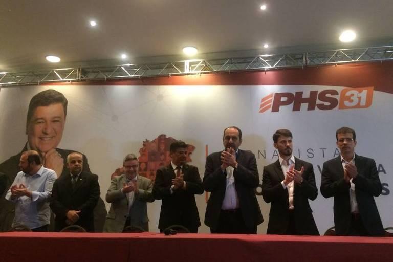 O senador Antonio Anastasia (PSDB-MG), o jornalista Carlos Viana (PHS), o prefeito Alexandre Kalil (PHS) e o deputado Marcelo Aro (PHS-MG)