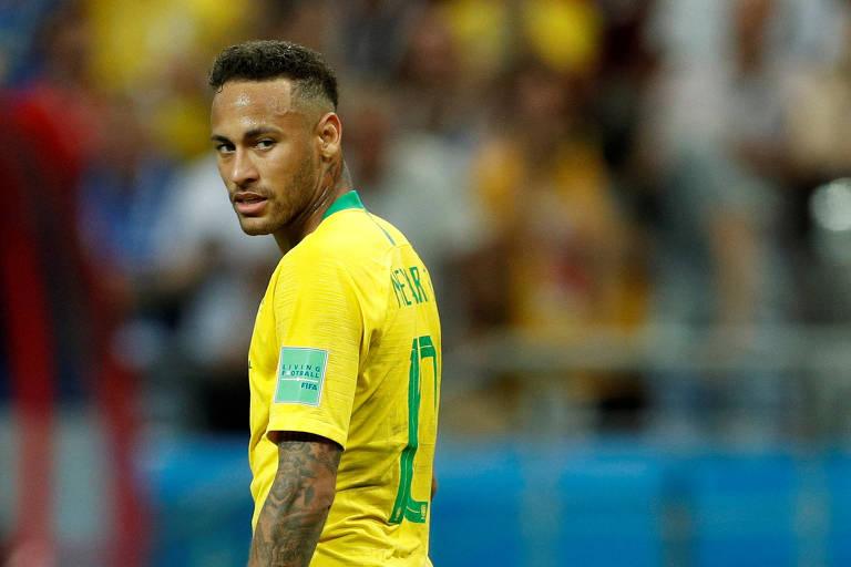 Neymar, em jogo da seleção na Copa da Rússia