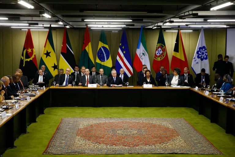 Cerimônia de abertura da 22ª Reunião do Conselho de Ministros da Comunidade dos Países de Língua Portuguesa, no Palácio do Itamaraty, em 2017