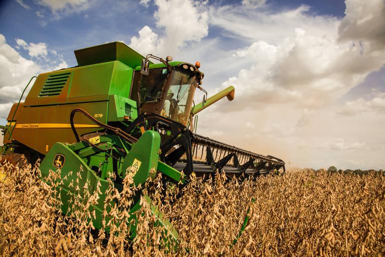 Colheita de soja, uma das culturas que mais utiliza agrotóxicos no Brasil