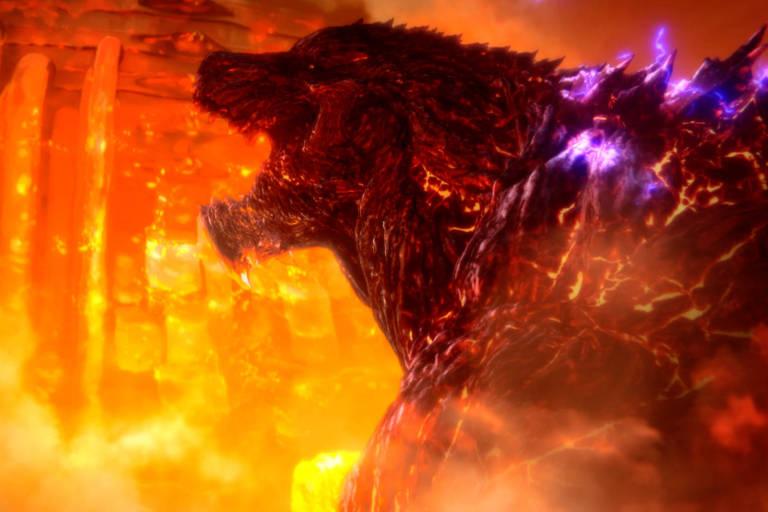 """Cena do filme de animação japonês """"Godzilla: City on the Edge of Battle"""""""