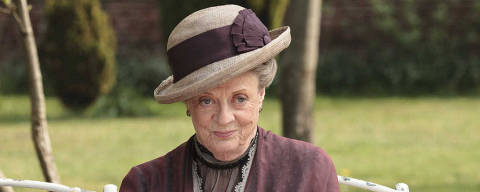 ORG XMIT: NYET336 In this image released by PBS,  Maggie Smith as the Dowager Countess Grantham, is shown in a scene from the second season on