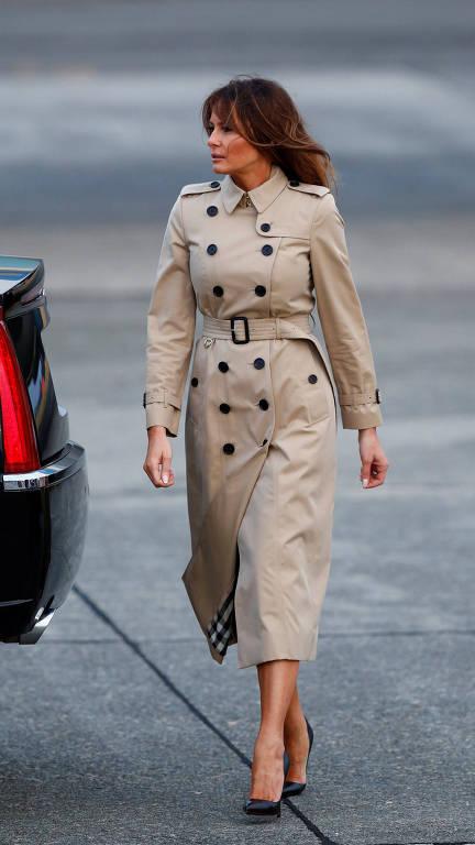 A primeira-dama americana Melania Trump chega ao encontro da Otan, em Bruxelas, no dia 10 de julho de 2018.