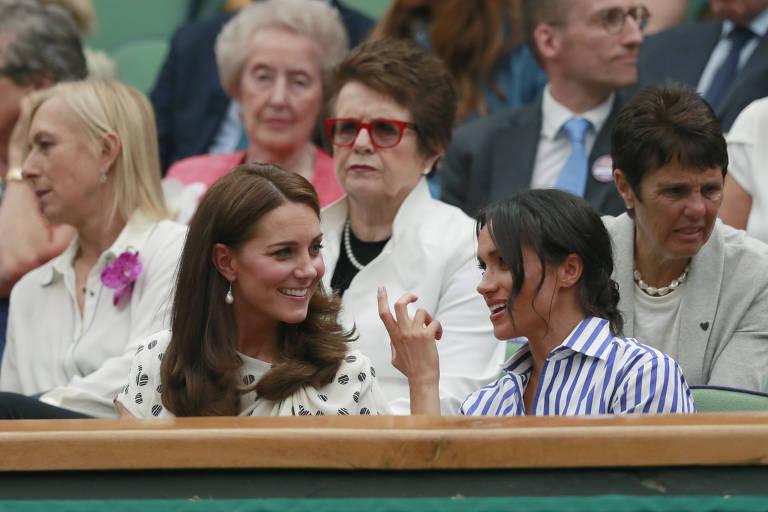 Kate Middleton e Meghan Markle vão juntas à final feminina de  Wimbledon