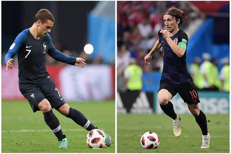 O francês Griezmann e o croata Modric, destaques das seleções finalistas do Mundial