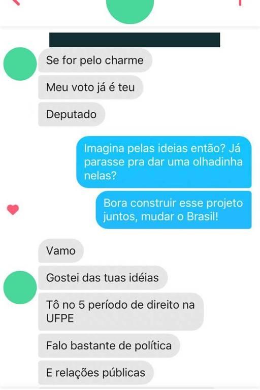 Reprodução do diálogo com o pré-candidato a deputado Felipe Oriá, que faz campanha no Tinder