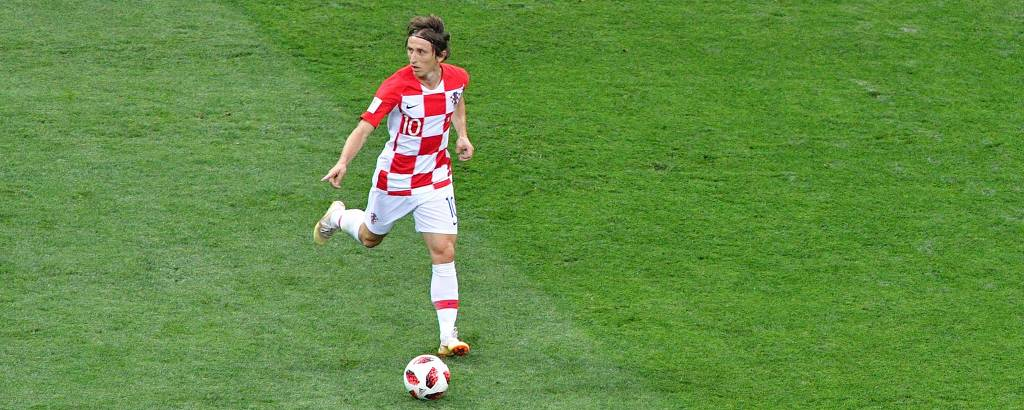 Modric durante partida contra França no estádio Lujniki, em Moscou