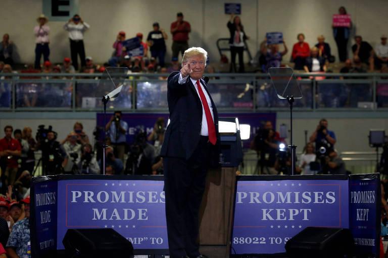 O presidente americano Donald Trump durante comício no estado de Montana no início de julho