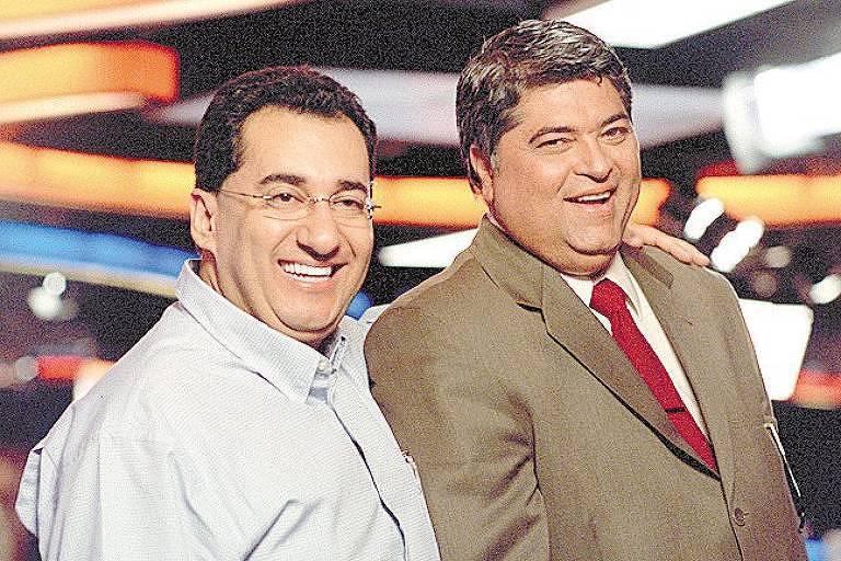 Jorge Kajuru ao lado do apresentador José Luiz Datena