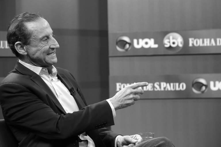 Paulo Skaf, pré-candidato ao governo de São Paulo, durante sabatina realizada pela Folha em conjunto com o UOL e o SBT