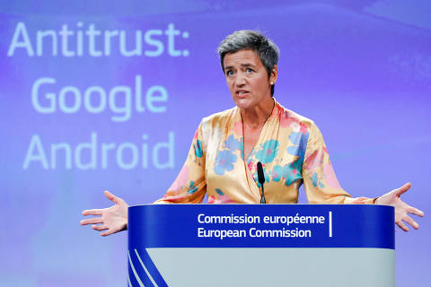 European Competition Commissioner Margrethe Vestager addresses a news conference on Google in Brussels, Belgium, July 18, 2018. REUTERS/Yves Herman      TPX IMAGES OF THE DAY ORG XMIT: MAT02
