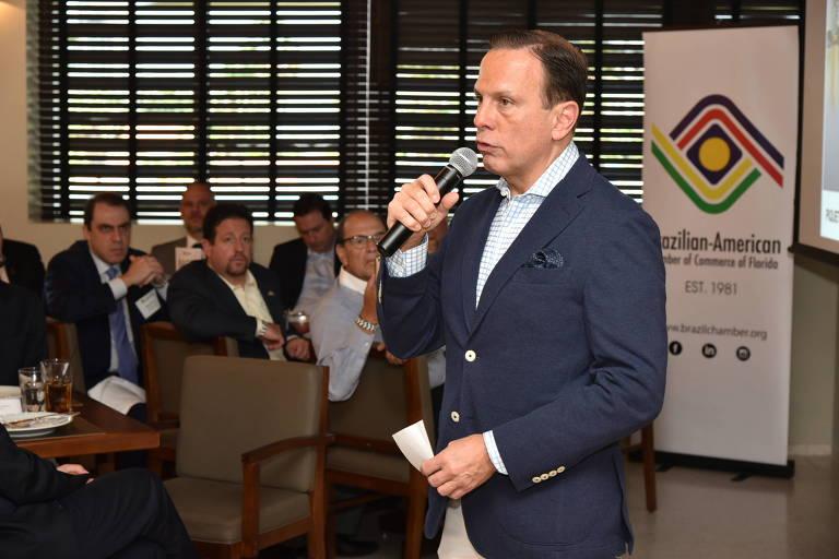 O pré-candidato do PSDB João Doria durante evento na Flórida (EUA)
