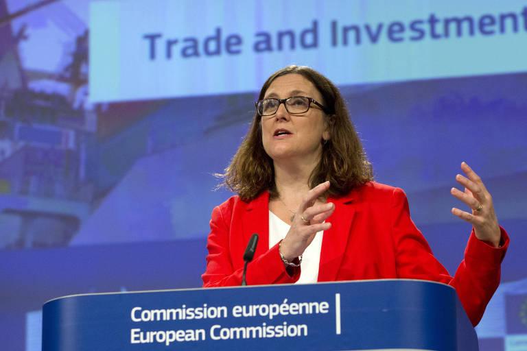 Comissária europeia de Comércio, Cecilia Malmström, em evento em Bruxelas